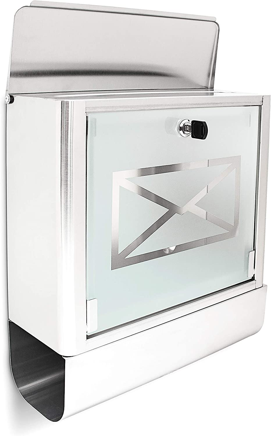 Relaxdays Stainless Steel Letter Post Box with Newspaper Holder and Frosted Glass Door