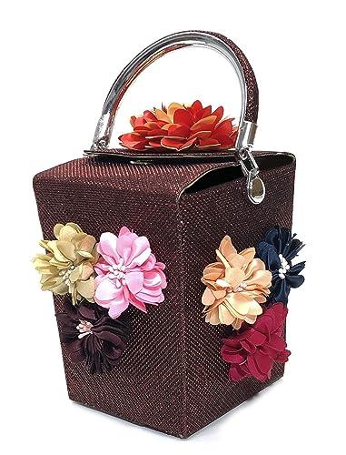 Womens Clutches Handbag Beaded Flower Box Evening Bag Wedding Party Purse