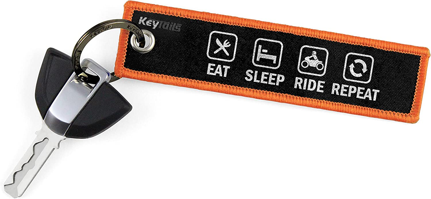 ATV Car UTV Scooter Eat Sleep Ride Repeat KEYTAILS Keychains Premium Quality Key Tag for Motorcycle