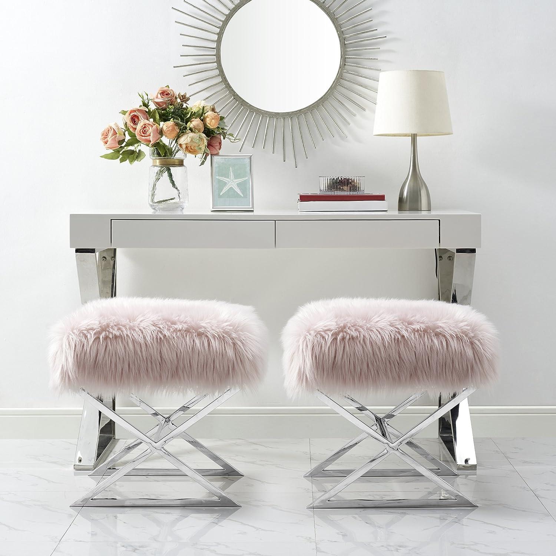 Inspired Home Aurora Rose Faux Fur Ottoman