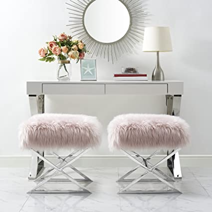 Groovy Inspired Home Aurora Rose Faux Fur Ottoman Stainless Steel Chrome X Legs Upholstered Bedroom 1 Pc Only Theyellowbook Wood Chair Design Ideas Theyellowbookinfo