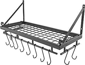 Hanging Pot Holder Rack - Southern Homewares - Kitchen Shelf for Storage & Organization - Includes 12 Hooks