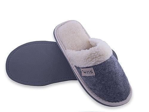 18f07564c067d8 TWINS Fashion « Oslo » weich & warm gefütterte Damen Herren Filz-Pantoffeln  I Slippers I Fleece I Plüsch - rutschfeste Hausschuhe Herbst & Winter