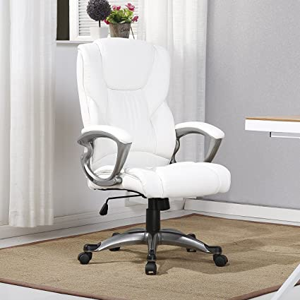 Outstanding Belleze Executive Office Chair Padded Leather Seat Swivel Task Computer Adjustable Height White Gmtry Best Dining Table And Chair Ideas Images Gmtryco