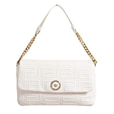 27abc40c14 Amazon.com: Versace Quilted Leather White Chain Strap Women's ...