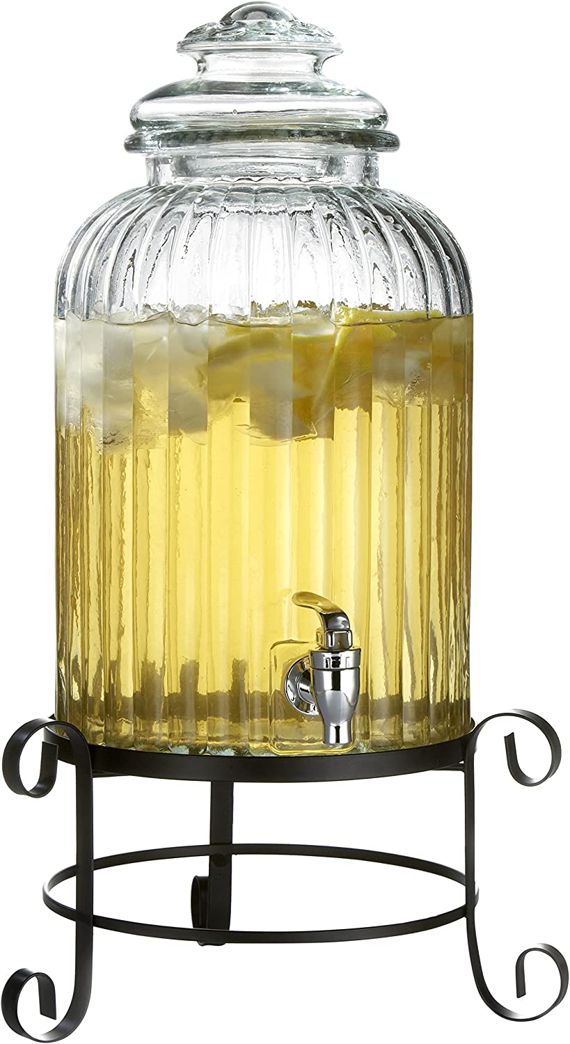 Style Setter 210919-RB 3 Gallon Glass Beverage Drink Dispenser with Metal Stand & Glass Lid, Springfield, Clear