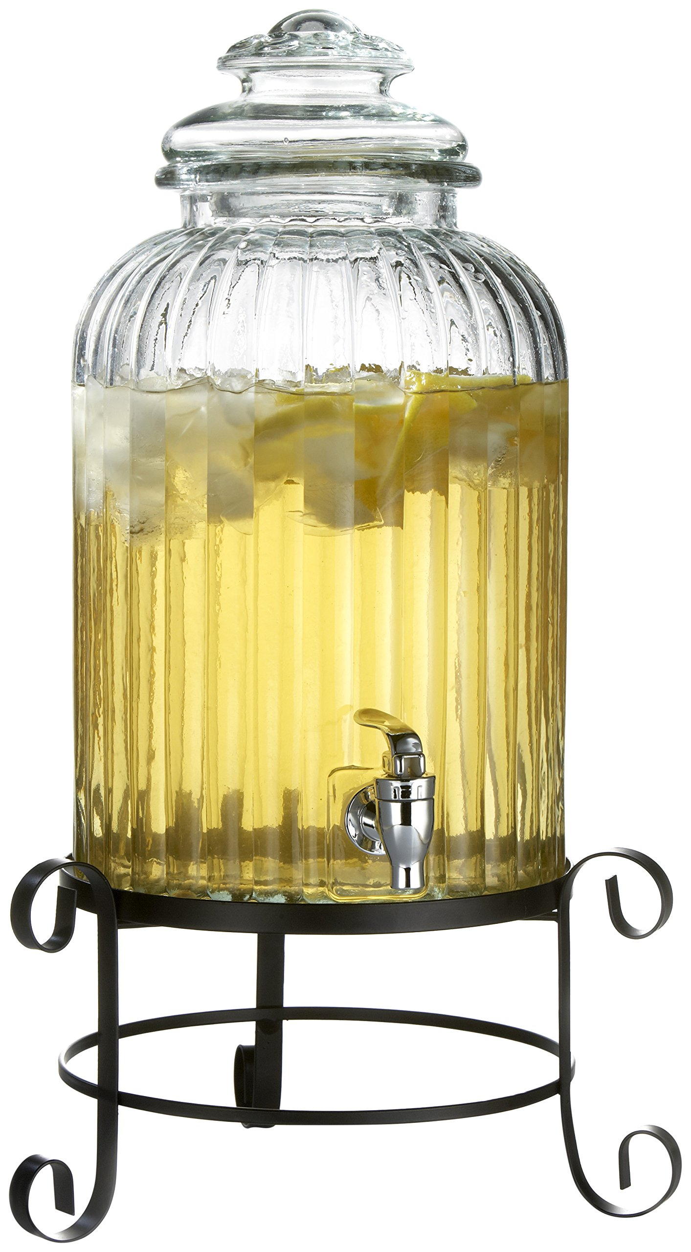 Style Setter Springfield 210919-RB 3 Gallon Glass Beverage Drink Dispenser with Metal Stand & Glass Lid, 21'', Clear