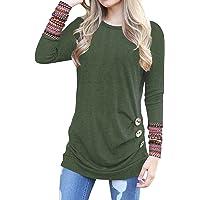 83008550d80 Oyamiki Women Casual Loose Crewneck Long Sleeve Tunics Patchwork Blouse T-Shirt  Tops