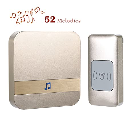 Wireless Doorbell Chime Kit Remote Button Transmitter With Plug In  Receiver, Operating Range Up To