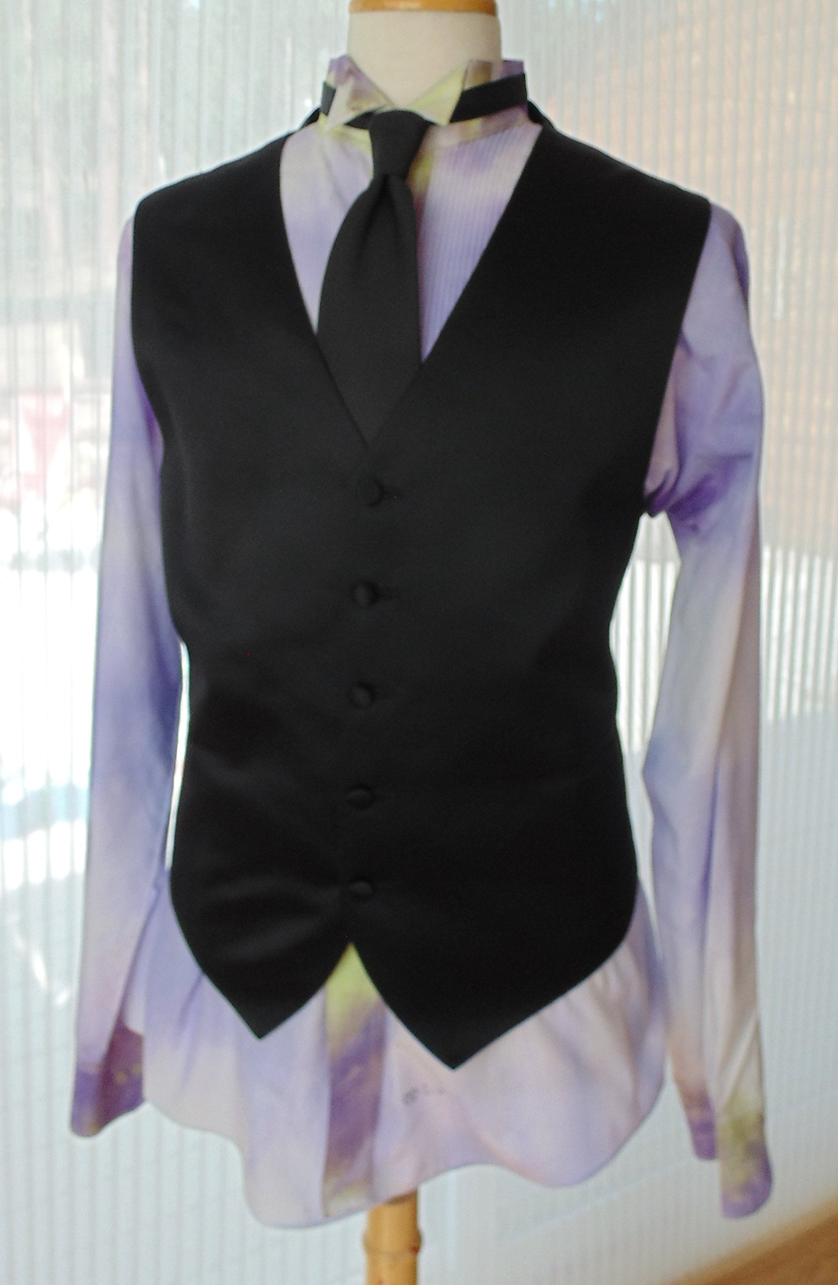 Men's L 36-37 Hand Tie Dye Tuxedo Shirt