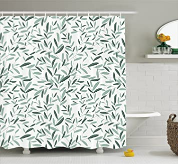 LIBIN Sage Shower Curtain By Pattern With Leaves Environment Nature Simplicity Summer Spring Plants Garden