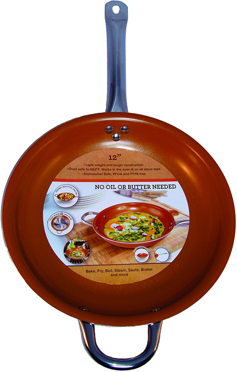 Amazon Copper Frying Pan 12 Inch Non Stick Ceramic Infused Titanium Steel Oven Safe Dish Washer Scratch Proof By Kitchen Dining