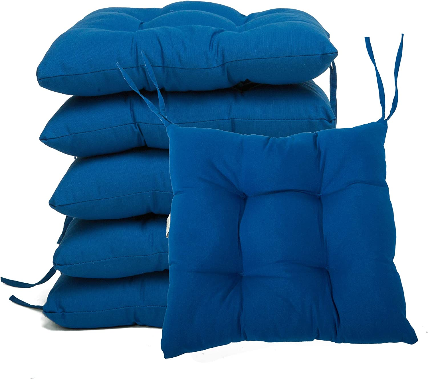 Comfortable BCASE Garden Bedroom Pack of 6 Seat and Chair Cushions 38x38cm Terrace Easy to Clean Living Room Blue Patio Etc Resistant Fiber Filling for Kitchen Polyster Cover