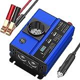HiGoing 300W KFZ Spannungswandler, 300W Wechselrichter DC 12V auf AC 230V für Auto, Inverter mit 1 Steckdose und 2 USB Anschlüsse und 2 Zigarettenanzüderannschlüsse