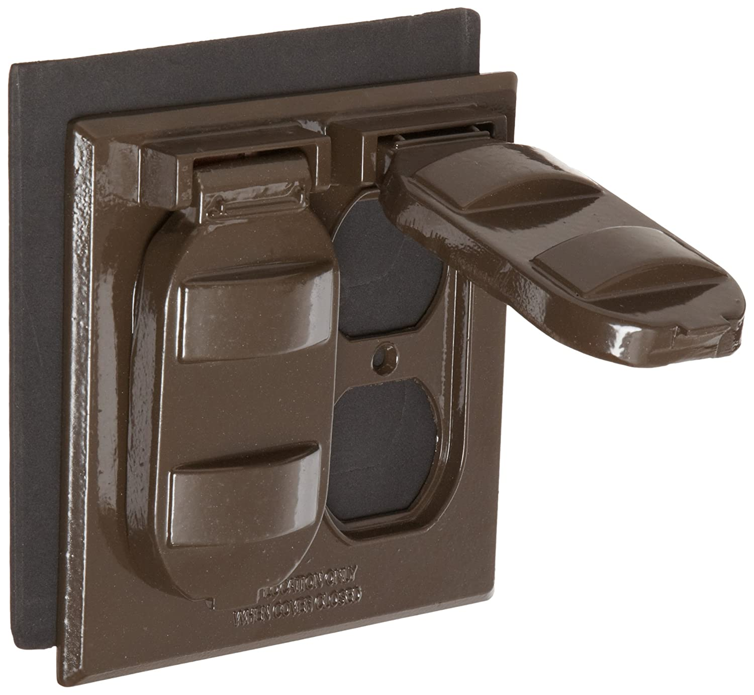 Morris Products 37214 Weatherproof Cover, Two Gang, 2 Duplex Receptacle, Bronze