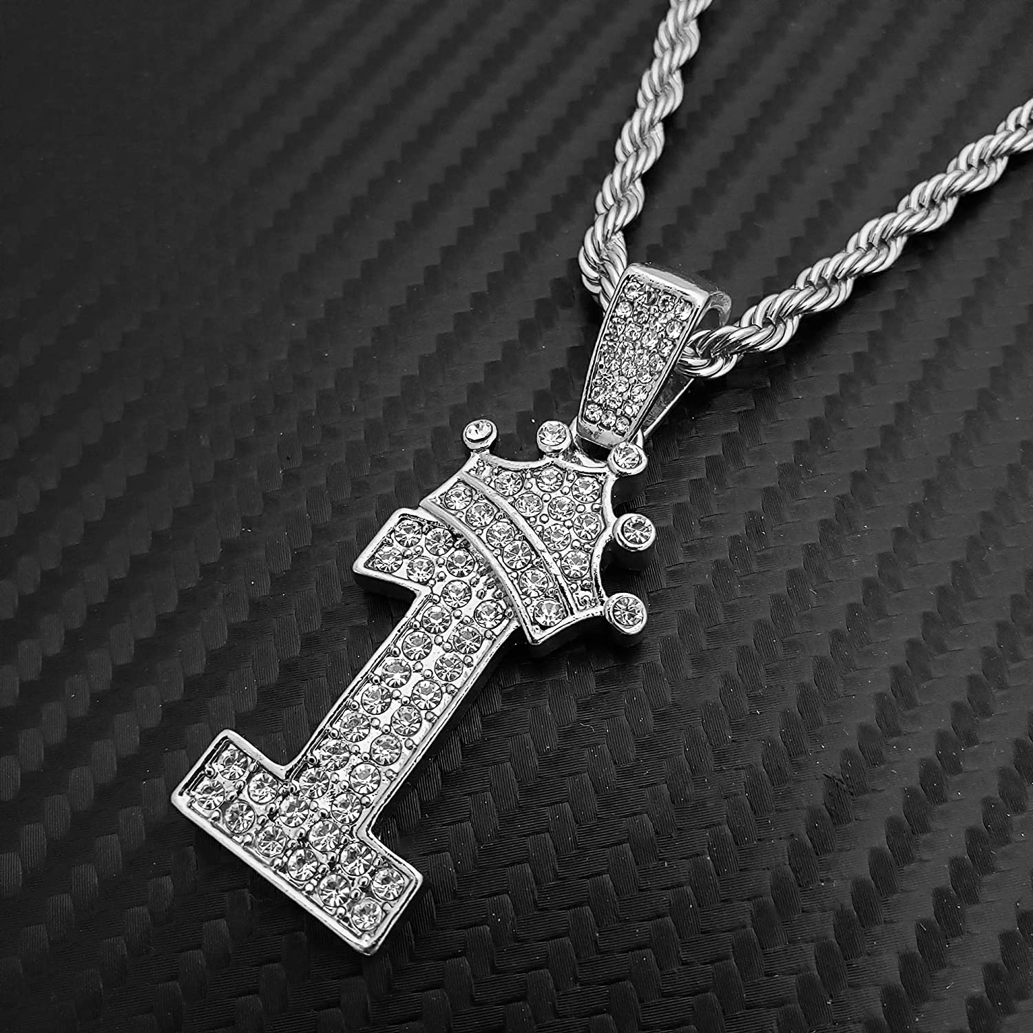 BLINGFACTORY Hip Hop Iced White Gold Plated Crowned Number 1 Pendant /& 24 Rope Chain Necklace
