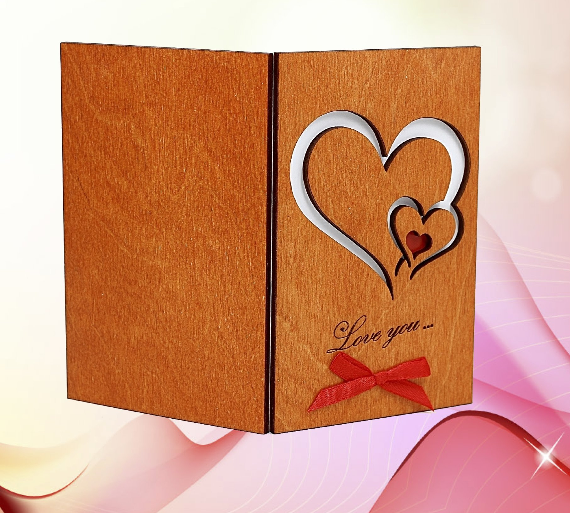 Handmade Real Wood Love You Hearts Unique Greeting Card Best Happy Birthday Gift Wedding Dating 5th Fifth Wooden Anniversary Novelty Present For Him Man