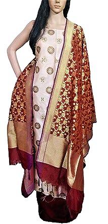 df8f7f8b98 Riaa Collection Women's Ethnic Banarasi Silk Handloom Dress Material  (RIAA-BSS 28_ Maroon/