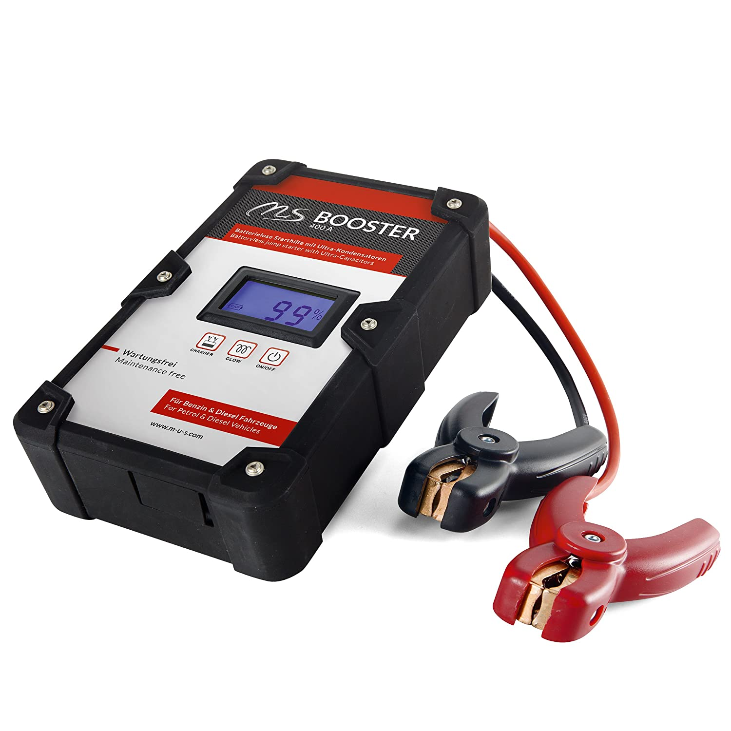 S batteryless 400A startup booster mobile motorbike and auto-starting aid for diesel and gasoline engines battery booster with ultra-capacitors for over 10,000 starts M 100 /% reliable