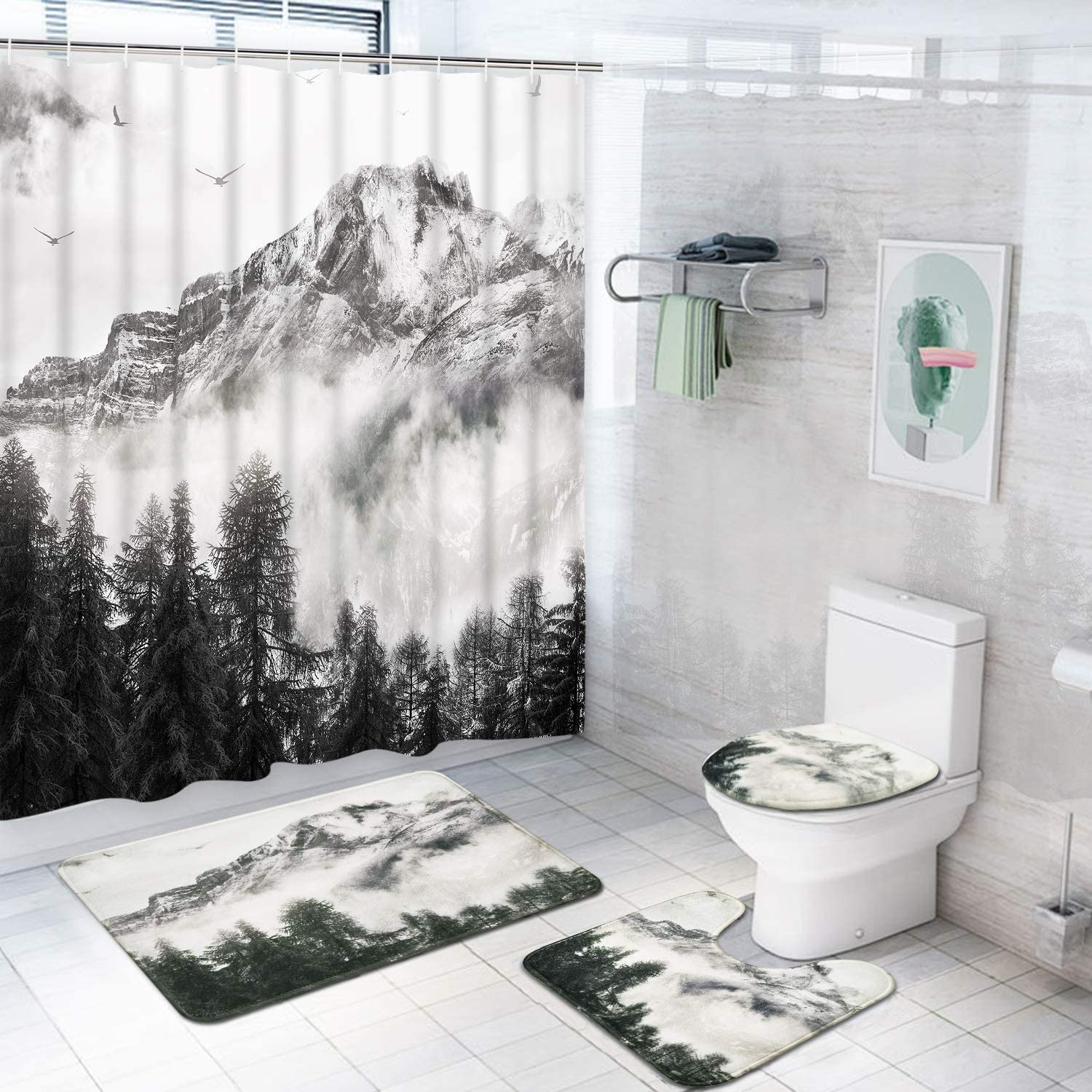 4 Pcs Smoky Mountain Forest Shower Curtain Set with Non-Slip Rug, Toilet Lid Cover, Bath Mat and 12 Hooks, Foggy National Park Waterproof Shower Curtain Sets for Bathroom