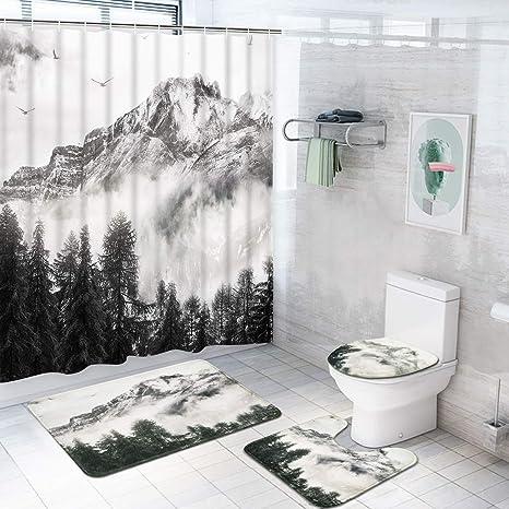 4Pcs Waterproof Bathroom Shower Curtain w// Hook /& Toilet Lid Cover//Bath
