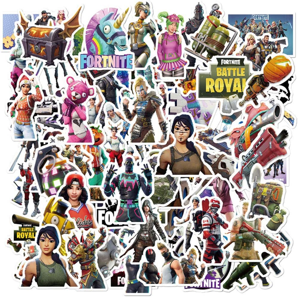 Cool Waterproof Vinyl Stickers Pack for Fortnite,104 Pcs Stickers for Water Bottle Motorcycle Car Phone Guitar MacBook Flasks Bike Laptop Motocross,Decals for Girls Kids Teens Boys Adults.