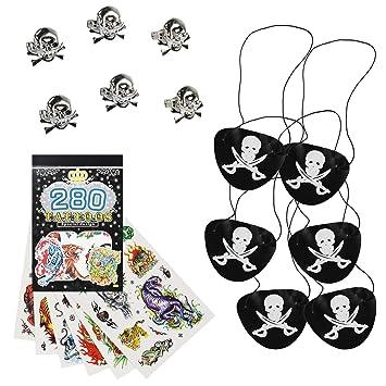 COM-FOUR® Set de Regalo Pirata de 13 Piezas para cumpleaños Infantiles Que Consta de Anillo Pirata, Parche en el Ojo y Tatuajes temporales (013 Piezas ...