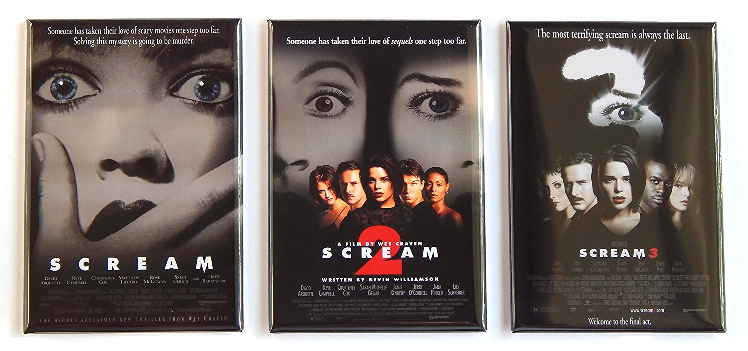 Amazon.com: Scream Movie Poster Fridge Magnet Set (2.5 x 3.5 inches each): Kitchen & Dining