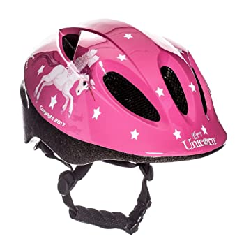 Casco de bicicleta para niña Flying Unicorn, color rosa con dibujos de unicornio, de