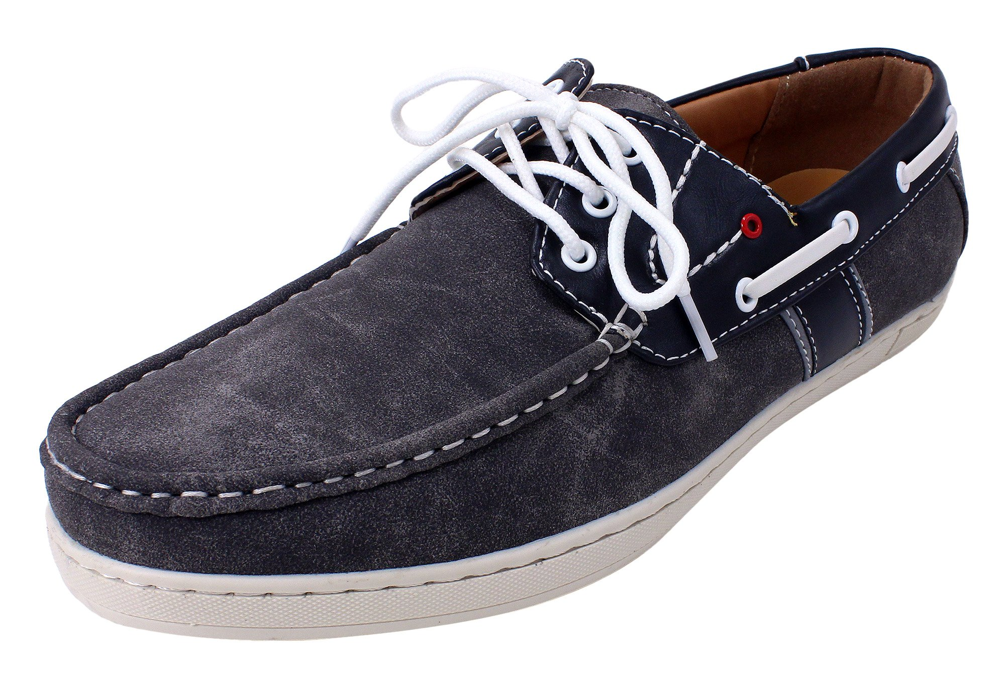Enimay Men's Free Slip-On Loafer Boat Shoe PU Leather Fine Crafted Lounge Grey Dark Grey 8.5
