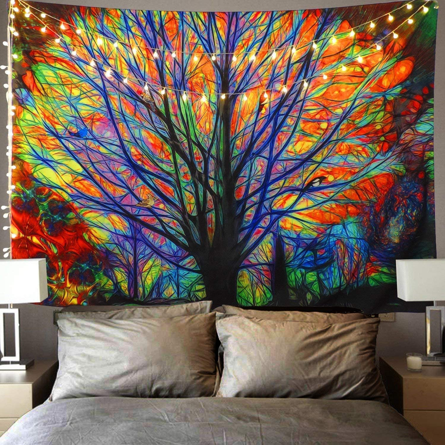 """Cpaoo Tapestries Wall Hanging Wall Decor Hippie Tapestries Bohemian Mandala Colorful Tree Psychedelic Animate Forest with Birds Art Backdrop for Bedroom Dorm Decor, The Tree (59"""" x 51"""")"""