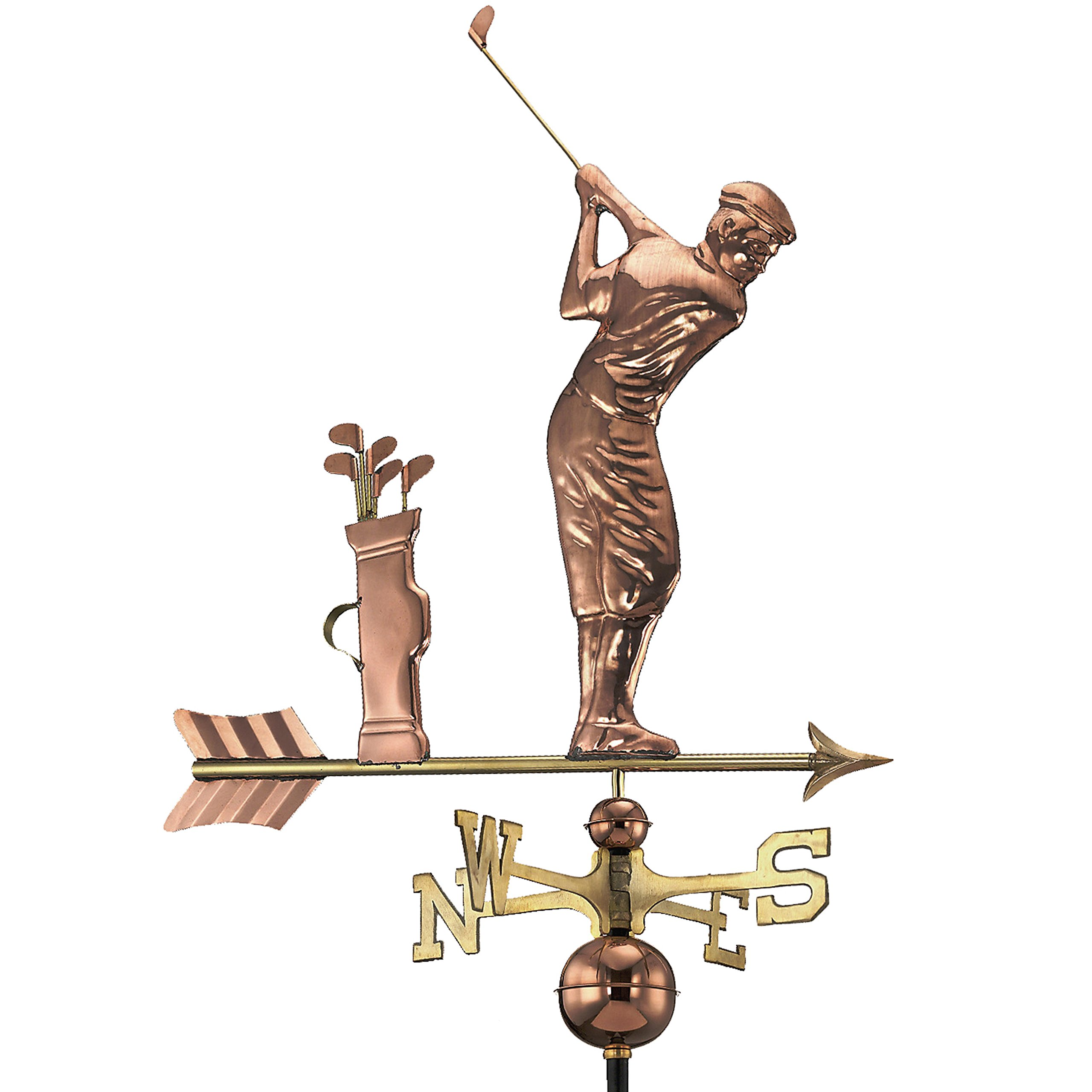 Good Directions Golfer Weathervane, Pure Copper