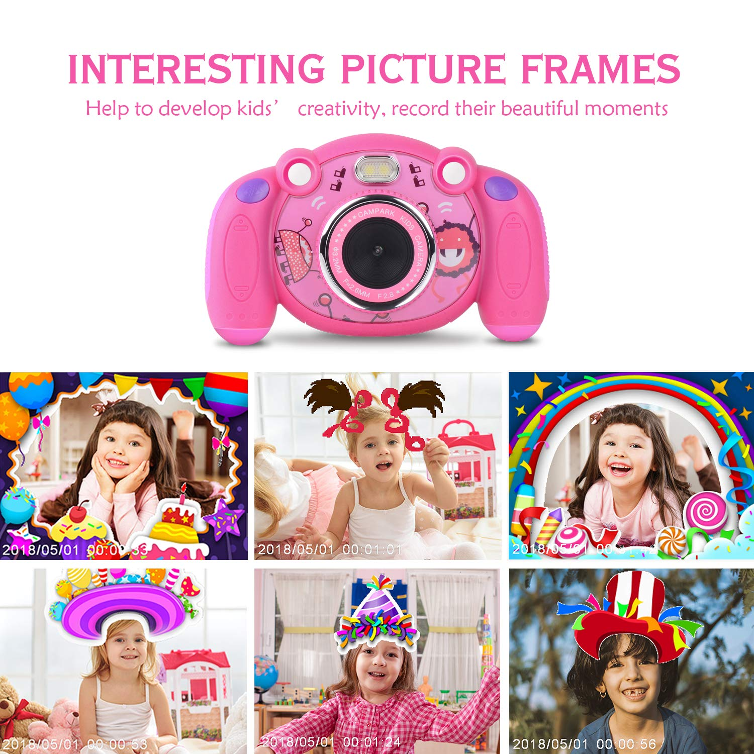 Campark Kids Camera, Mini Child Camcorder with HD LCD Display 16GB Memory Card for Girls Pink Great Birthday Gift by Campark (Image #3)