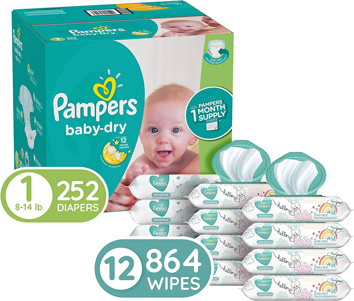 Diapers Newborn/Size 1, 252 Count (8-14 lb) - Pampers Baby Dry Disposable Baby Diapers, ONE Month Supply with Pampers Sensitive Water Baby Wipes, 12X Pop-Top Packs, 864 Count