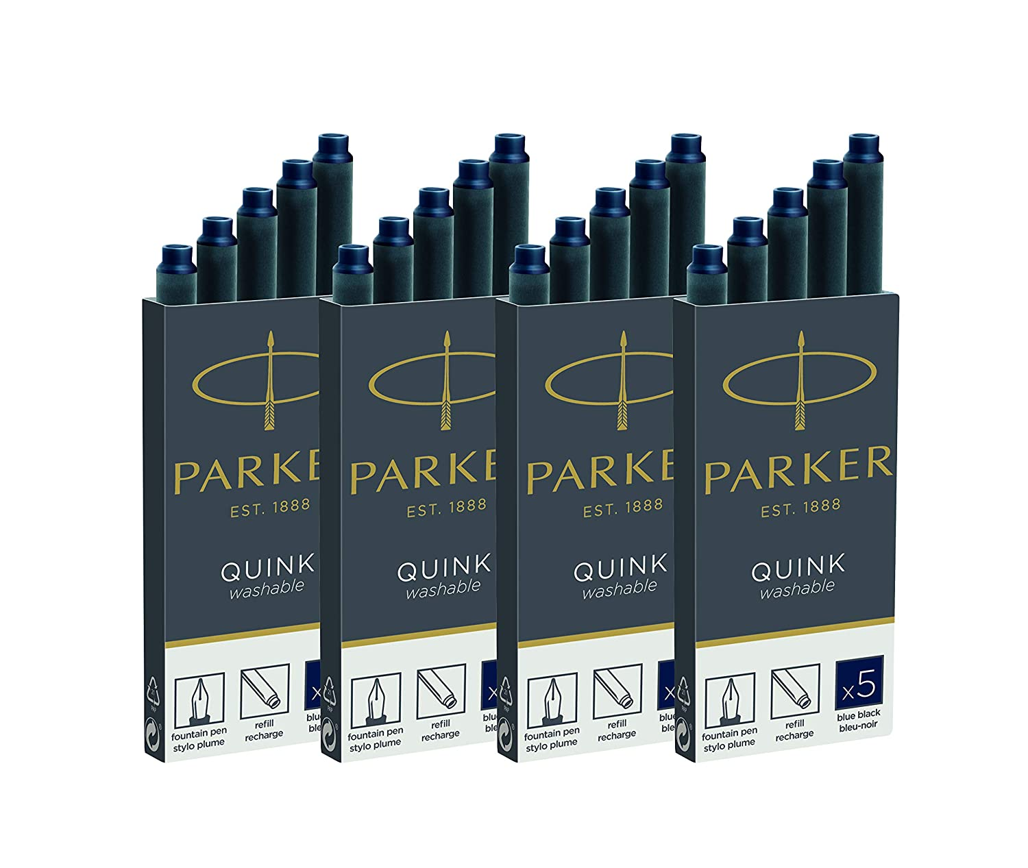 20 pezzi Cartucce per inchiostro 4 x 5 Parker 1950384 Quink Ink Ink