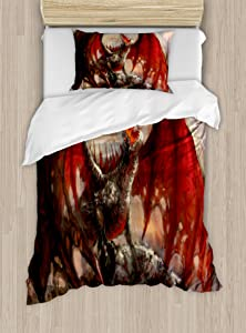 Ambesonne Fantasy World Duvet Cover Set, Majestic Dragon Resting on Mountain Mythological Spewing Creature Print, Decorative 2 Piece Bedding Set with 1 Pillow Sham, Twin Size, Brown Red