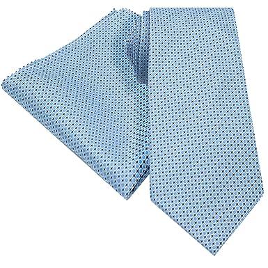 Men/'s Pocket Square Sky Blue with White Polka Dots Handkerchief Wedding Hankies