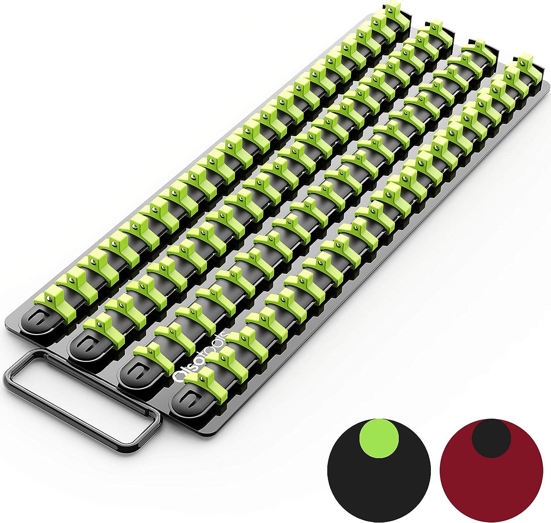 Olsa Tools Holds 80 Sockets Premium Quality Socket Holder Red Rails with Black Clips Portable Socket Organizer Tray