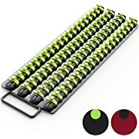 Olsa Tools Portable Socket Organizer Tray | Black Rails with Green Clips | Holds 80 Sockets | Premium Quality Socket…