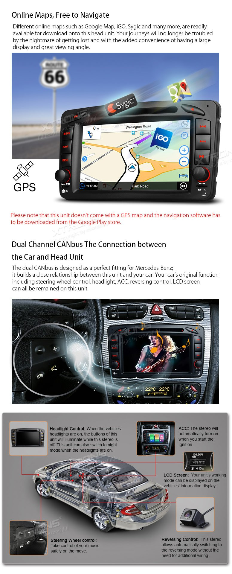XTRONS Android 6.0 Octa-Core 64Bit 7 Inch Capacitive Touch Screen Car Stereo Radio DVD Player GPS CANbus Screen Mirroring Function OBD2 Tire Pressure Monitoring for Mercedes Benz W203 W209 W463 by XTRONS (Image #7)