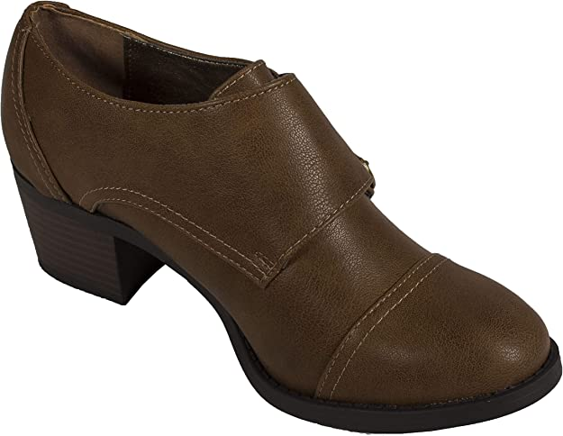 City Classified Womens Arron Stacked Heel Ankle Booties in Black Light Brown