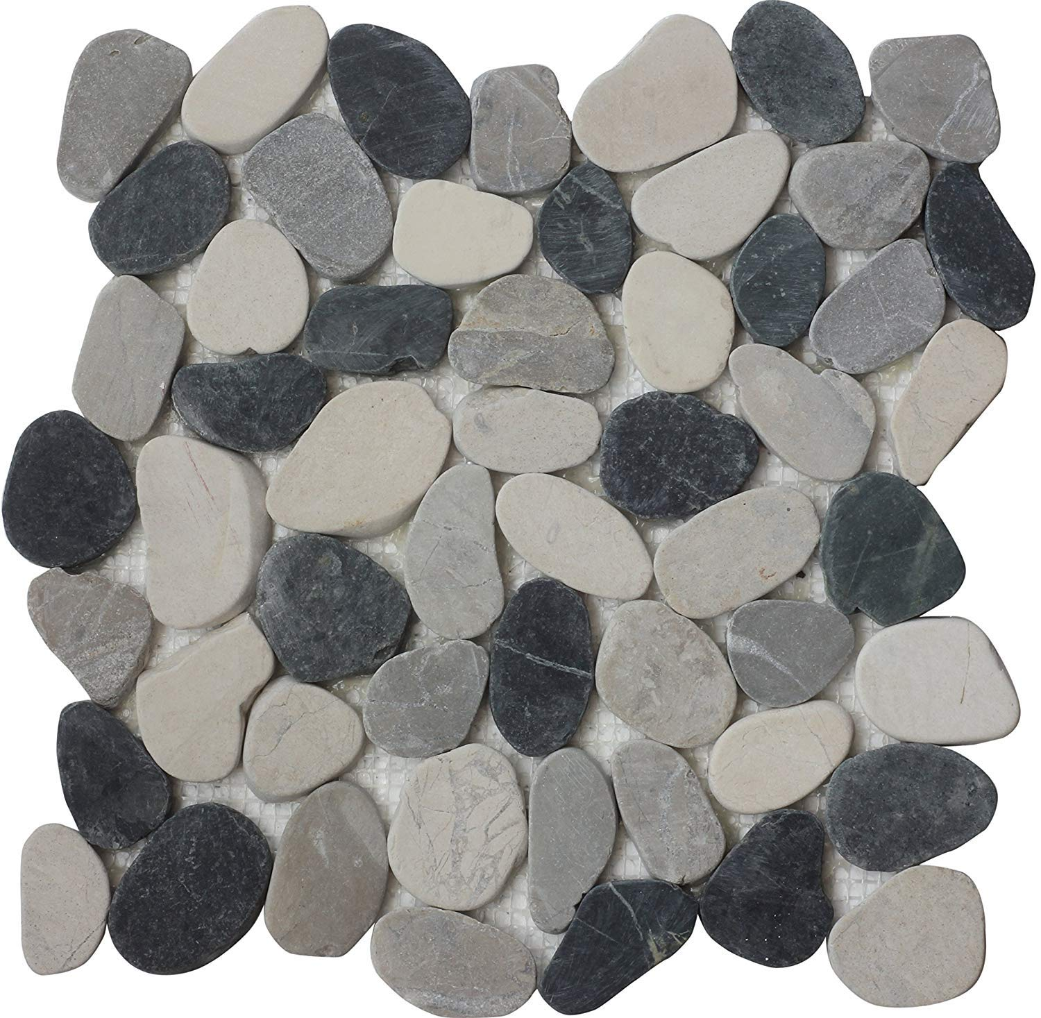 Interlocking Pebble Floor Tiles (10-Sheets) Kitchen, Bathroom, and Patio Flooring   Indoor and Outdoor Use   Natural Auburn White Grey Black Stones   Quick and Easy Grout Installation