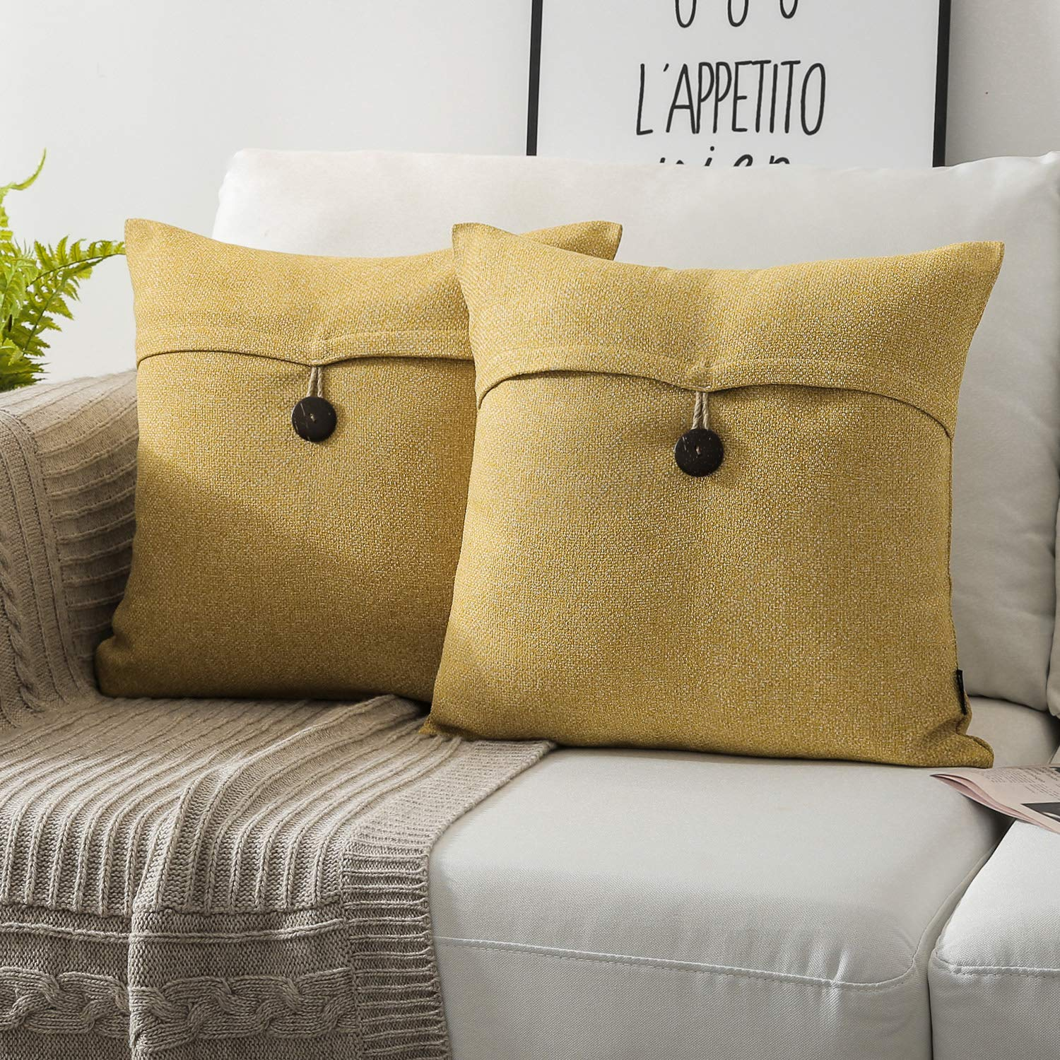 Phantoscope Pack of 2 Farmhouse Throw Pillow Covers Button Vintage Linen Decorative Pillow Cases for Couch Bed and Chair Dark Yellow 18 x 18 inches 45 x 45 cm
