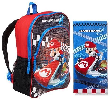 Nintendo Mario Kart 8 2 piezas para niños mochila – Juego de mochila grande y toalla