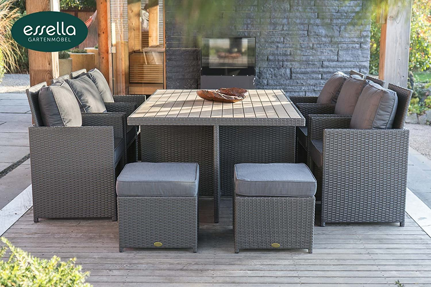 polyrattan sitzgruppe vienna 6 personen polywood flachgeflecht grau gartenm bel. Black Bedroom Furniture Sets. Home Design Ideas