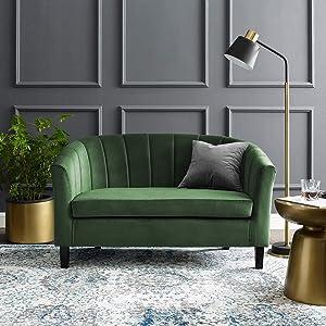 Modway Prospect Channel Tufted Upholstered Velvet Loveseat, Emerald