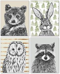 Confetti Fox Woodland Animal Babies Nursery Wall Decor - 8x10 Unframed Set of 4 Art Prints - Baby Bear Bunny Owl Raccoon