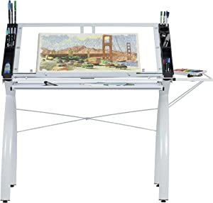 SD Studio Designs 10096 Futura Station with Folding Shelf Top Adjustable Drafting Craft Drawing Hobby Table Writing Studio Desk with Drawer, 35.5'' W x 23.75'' D, White/Clear Glass