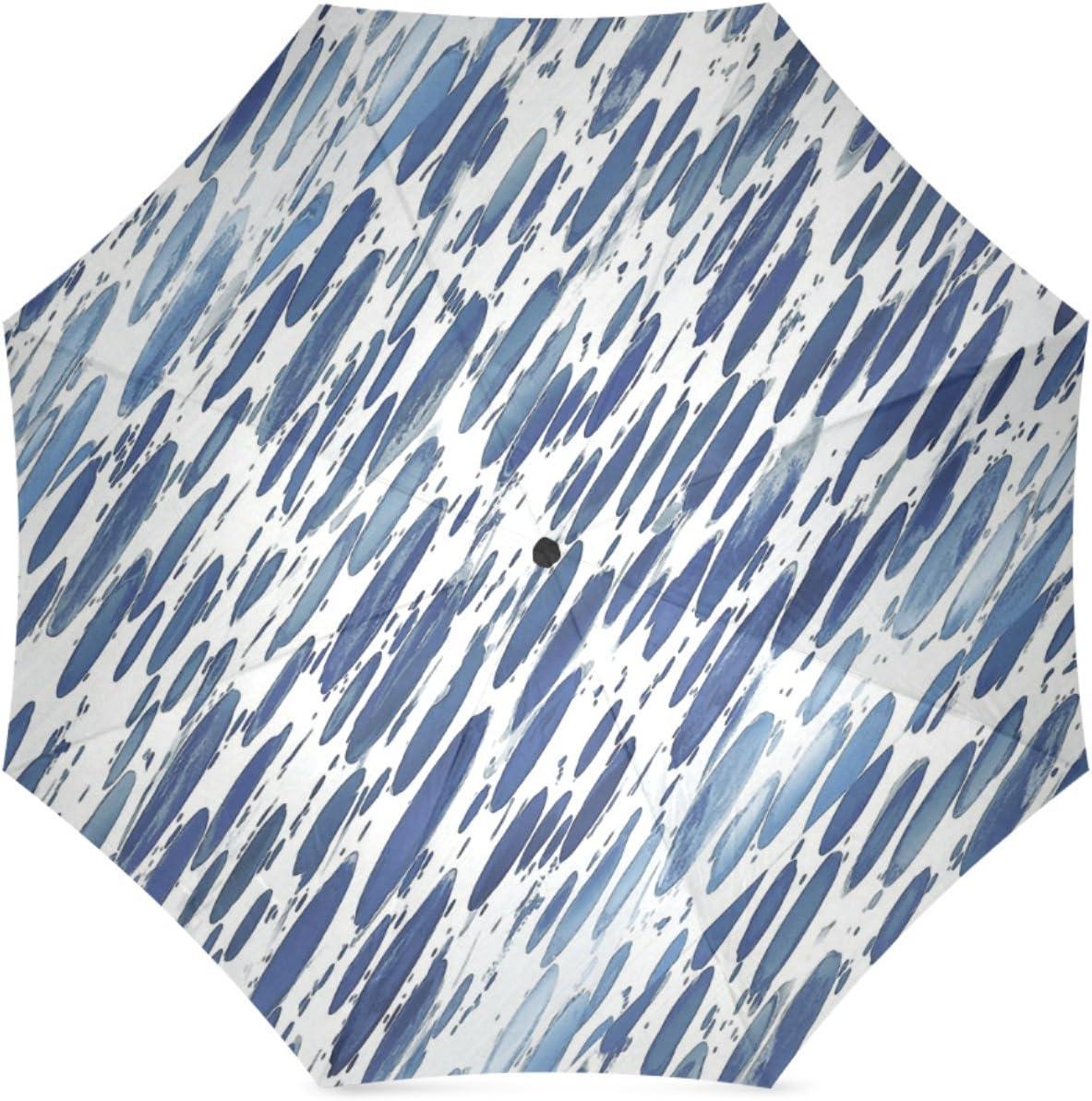 Beautytool Custom Boho Blue Brushstroke Floding Travel Umbrella