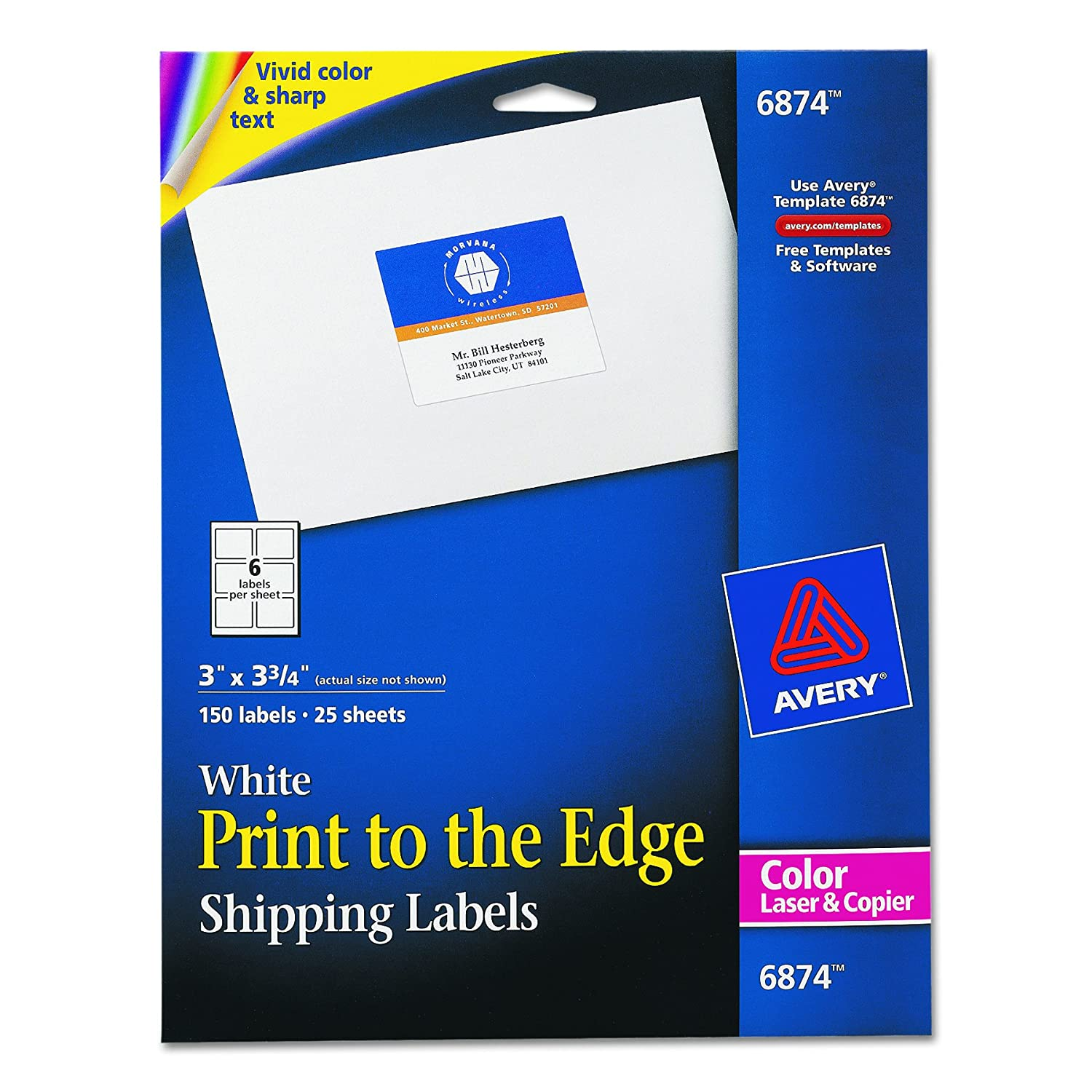 Amazon Avery White Laser Labels For Color Printing 3 X 4 Label 150 Per Pack 6874 Printer Office Products
